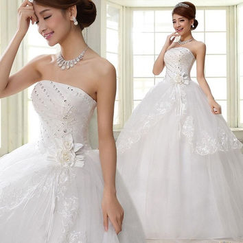 New Designed Women Ruched Lace Straps White Big Swing Wedding Dresses P_WVA004 = 1932854980