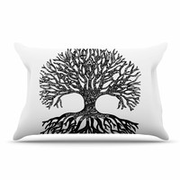 "Adriana De Leon ""The Tree of Life"" Black White Pillow Case"