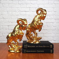Vintage PAIR of Gold Ram Statues, Bookends, Figurines Hollywood Regency Home Decor