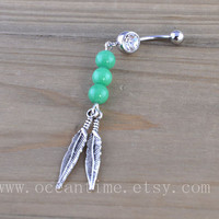 Dream catcher Belly Button Rings,Navel Jewlery, Dream catcher belly button ring,green bead, summer jewelry