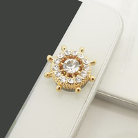 1PC Bling Crystal Wheel iPhone Home Button Sticker Charm for iPhone 4,4s,4g,5,5c Cell Phone Charm Gift for Men