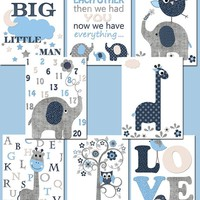 Poster print Baby Gift Ideas Gray Blue Baby Shower Gift Canvas Elephant Nursery Quotes Kids Wall Art Baby Boy Nursery Art et of 8
