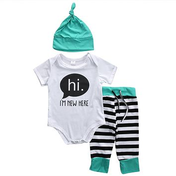 Hi I'm New Here Newborn Coming Home Outfit Unisex Baby Boy Baby Girl Onesuit Hat and Pant Set Black and Aqua Blue