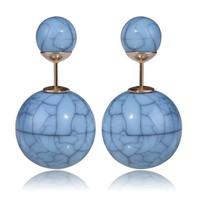 Gum Tee Tribal Earrings - Stone Light Blue