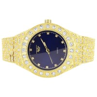 Custom Royal Blue Face Men's Solitaire Iced Out Nugget Watch