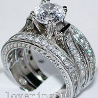 Victoria Wieck Vintage Lady princess cut simulated diamond 14KT White Gold Filled 3-in-1 Engagement Wedding Ring Set Size 5-11
