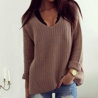 Womens Casual Long Sleeve Knitwear Jumper Cardigan Coat Jacket Sweater Pullover +Free Summer Necklace