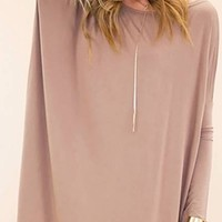 Taupe Long Sleeve Scoop Neck Piko Bamboo Oversized Tunic Tee Shirt Mini Dress