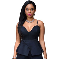 2015 Fashion V-neck Spaghetti Strap Peplum Tops Women Club Party Backless Bustier Crop Top Camis Tanks Camisetas y tops