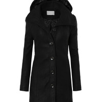 LE3NO Womens Plus Size Long Fleece Pea Coat Jacket with Detachable Hoodie (CLEARANCE)