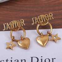 DIOR Hot Fashion Lady Love Heart Diamond Earrings