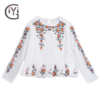 GIYI Floral Embroidered Ruffle Blouse Women Vintage White Ethnic Print Flower Embroidery Peplum Top Femme Long Sleeve Blusas