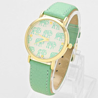 Elephant Leather Watch Teal