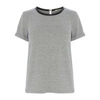 Buy Oasis Short Sleeved Sweater with Faux Leather Trim, Grey Marl   John Lewis
