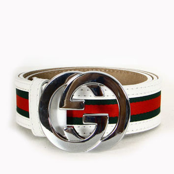 Gucci Leather Unisex Belt with Green&Red Gucci lines and Silver Gucci logo Buckle - White