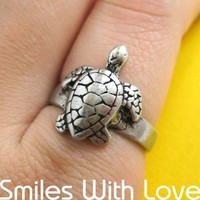 Simple Turtle Animal Ring in Silver - Sizes 5 and 6 available