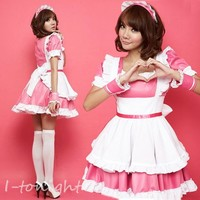 Sexy Japan Cosplay Halloween Costume Pink Lolita Maid Fancy Dress Uniform Outfit