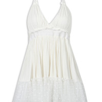 White Lace Up Backless Halter Hi-lo Mesh Embroidery Peplum Dress
