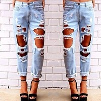 2017 New Fashion Jeans Woman Light Blue Solid Novelty Skinny Full Length Ripped