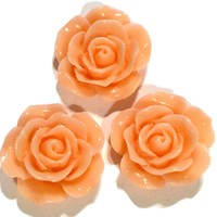 Peach flower resin cabochon 15mm / 1-5 pieces