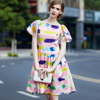 Tie-Dyed Ruffled Dress