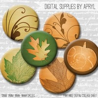 Fall Leaves Autumn Digital Collage Sheet 18mm 16mm 14mm 12mm Circle Round on both 4x6 8.5x11 Sheets for Earrings Pendants Cuff Links Image