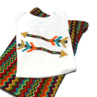 Baby Boy Clothes - Baby Boy Shorts and shirt - Boy Summer Outfit - Tribal Arrows