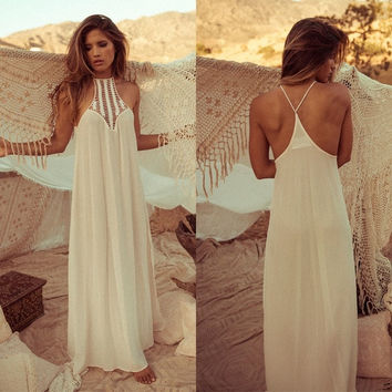 Stylish Women's Sexy Chiffon Sleeveless Off-shoulder Maxi Long Party Evening Beach Full Dress SV019204 = 1905762692