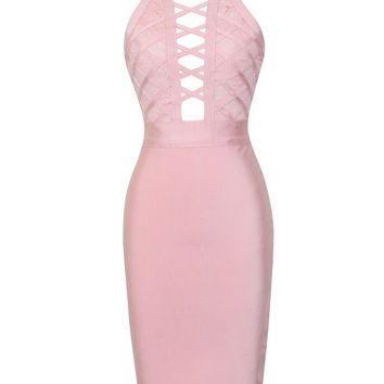 Kampbell Lattice Pink Cutout Lace Detail Halter Bandage Dress
