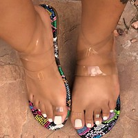 All over toe transparent strappy sandals Roman plus size flat sandals