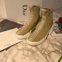 Dior Fashion Women Casual Breathable Sneakers Sport Shoes high top boots top quality gold