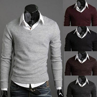 Solid Color V Neck Slim Fit Knit Sweater