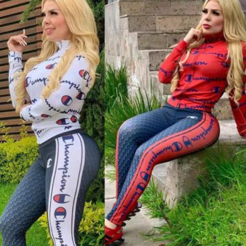Champion New Popular Women Casual Round Collar Top Pants Set Two-Piece