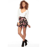 Black and White Long Sleeve Deep V-Neck Pleated Floral Print Skater Dress