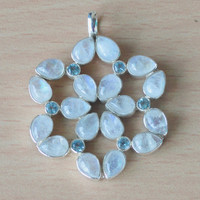 Moonstone & Blue Topaz Pendant,AAA Moonstone pendant,handmade Sterling SIlver Moonstone Pendants,Custom Necklace Gift Items NEW jewelry