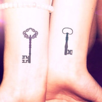 2pcs Vintage key set tattoo - InknArt Temporary Tattoo - wrist tattoo body sticker fake tattoo quote