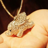 [grhmf2100001]Super Cute Baby Elephant Animal Pendant Necklace