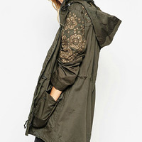 Army Green Forked Tail Hooddie Coat