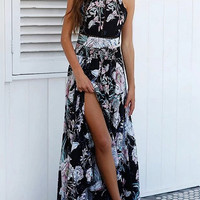 Black Floral Halter Open Back Split Maxi Dress