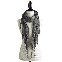 Product Details - Gray Woven Pompom Scarf