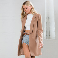 Long Sleeve Wool Coat with Pocket