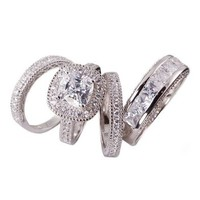 4pc His & Her Matching Halo Cushion Cut Bridal Engagement Wedding Ring Set .925 Sterling Silver (Womens 5-10)(mens 7-13) Cant Find Size? Please Email Us the Sizes That You Need After the Sale