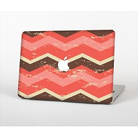 """The Scratched Coral & Brown Layered Chevron V1 Skin Set for the Apple MacBook Air 13"""""""
