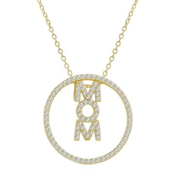 Gold Flashed Sterling Silver 3-in-1 Mom in Circle CZ Pendant Necklace