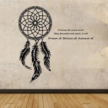 Dream Catcher Wall Decal Vinyl Art Home Decor Dreaming Wishing Motivation