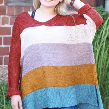 {Rust} Color Blocked Wide Knit Sweater - ONE SIZE