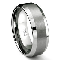 8mm Beveled Comfort Fit Tungsten Carbide Wedding Band Ring