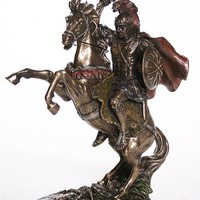 Alexander the Great on Horseback Statue Bronze Finish 13H