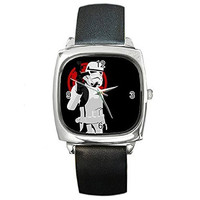 """Star Wars """"Storm Trooper"""" on a Silver Square Watch with Leather Band"""