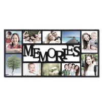 """Adeco Decorative Black Plastic """"Memories"""" Wall Hanging Collage Picture Photo Frame, 10 Openings, 4x6"""", 5x7"""""""